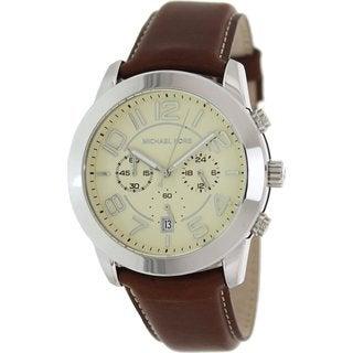 Michael Kors Men's MK8292 Brown Leather Quartz Watch with Beige Dial