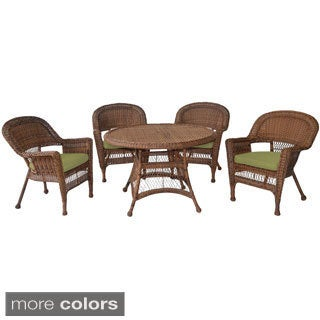 Honey Wicker 5-piece Cushioned Outdoor Dining Set