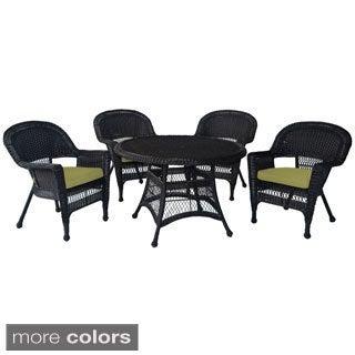 Espresso Wicker 5-piece Cushioned Outdoor Dining Set