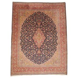 Herat Oriental Semi-antique 1940's Persian Hand-knotted Kirman Navy/ Beige Wool Rug (9'8 x 12'8)