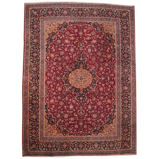Herat Oriental Semi-antique 1960's Persian Hand-knotted Kashan Red/ Navy Wool Rug (9'7 x 13')