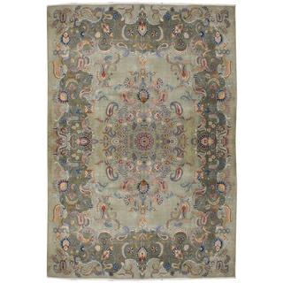 Herat Oriental Semi-antique 1960's Persian Hand-knotted Kashan Light Green/ Olive Wool Rug (10' x 13'2)