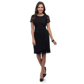 Ellen Tracy Women's Short Sleeved Mixed Media Side Gathered Dress