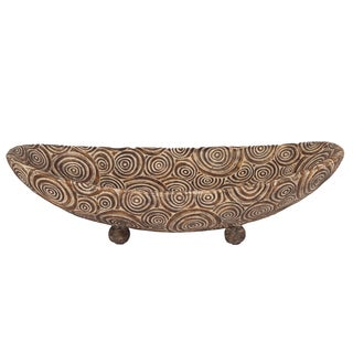 Classic Antique Scrolled Aged Brown Footed Bowl