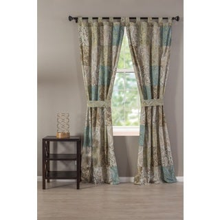 Vintage Paisley Patchwork Tab Top Curtain Panel Pair