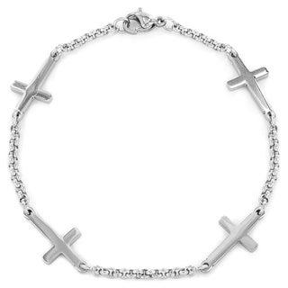 ELYA Stainless Steel Sideways Cross Charm Bracelet