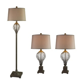 Fangio Lightings #3857AGRY Metal Wire 3PC Lamp Set in Antique Grey
