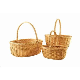 Large Honey Brown Willow Baskets (Set of 3)