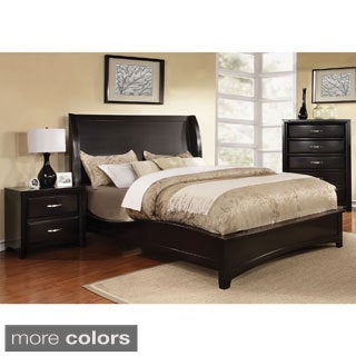 Furniture of America Loraine Modern 2-Piece Wingback Bed with Nightstand Set