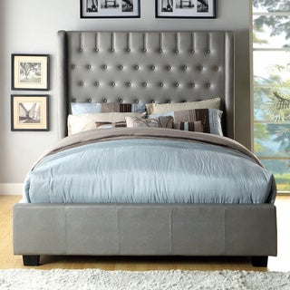 Furniture of America Carmella Leatherette Wingback Low Profile Bed