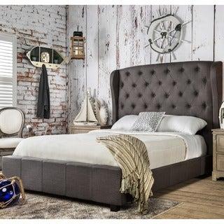 Furniture of America Draviosa Padded Flax Wingback Platform Bed