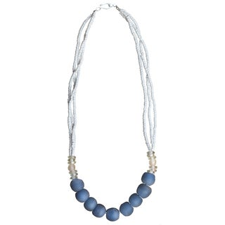 Recycled Blue Glass Abacus Necklace (Ghana)