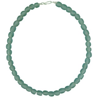 Sky Blue Pearl Recycled Glass Necklace (Ghana)