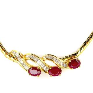 Pre-owned Kabella Vintage Estate 18k Yellow Gold 5/8ct TDW Baguette DiamondOval Ruby Estate Necklace (H-I, SI1-SI2)