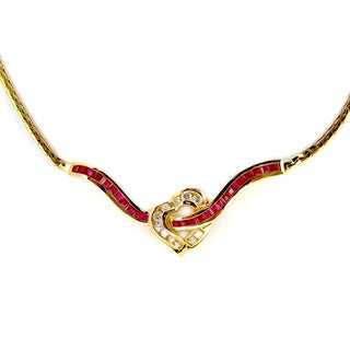 Pre-owned Kabella Vintage Estate 14k Yellow Gold 3/5ct TDW Diamond Ruby Heart Estate Necklace (H-I, SI1-SI2)