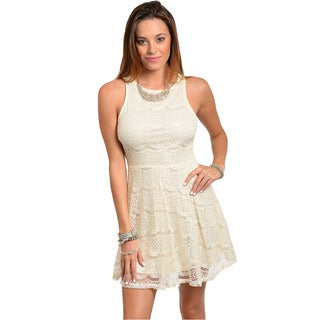 Feellib Women's Cream Sleeveless Fit-and-Flare Dress