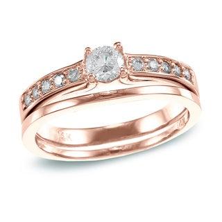 Auriya 14k Rose Gold 1/2 ct TDW Round Diamond Bridal Set (H-I, I1-I2)