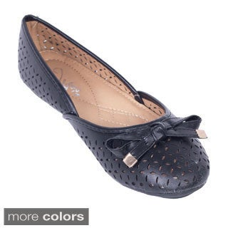 Women's Bow-topped Perforated Flats