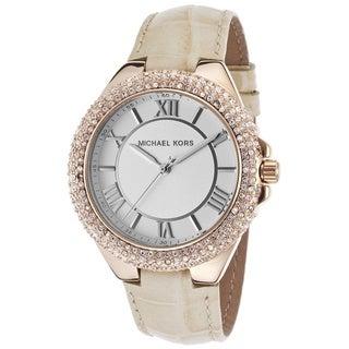 MIchael Kors Women's MK2330 Slim Camillle Crystal Tan Leather Watch