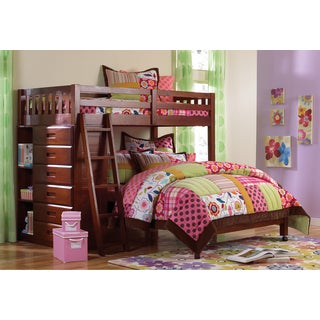 Merlot Stained Twin-over Full Loft Bed with 6-drawer Chest