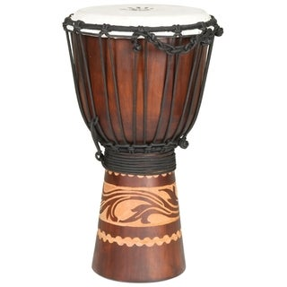 Hand-carved Kalimantan Travel-size Djembe Drum (Indonesia)