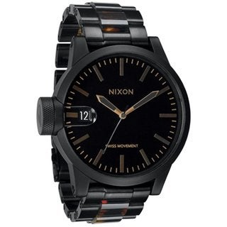 Nixon Men's Chronicle SS A1981061 Black Stainless Steel Analog Quartz Watch with Black Dial