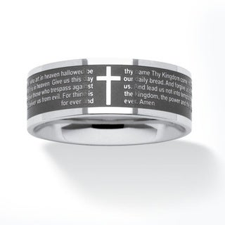 PalmBeach Stainless Steel Lord's Prayer Ring Men's