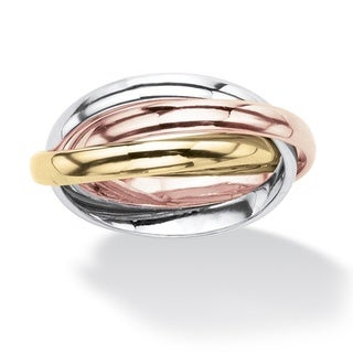 PalmBeach Interlocking Rings in Tri-tone Rose Gold-Plated, 18k Gold-Plated and Silvertone Tailored