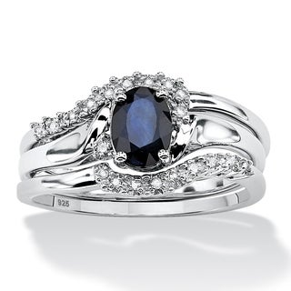 PalmBeach 3 Piece 1.05 TCW Oval Sapphire and Diamond Accent Bridal Ring Set in Platinum over Sterling Silver