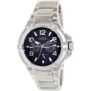 Guess Men's U0218G2 Silvertone Stainless Steel Quartz Watch with Blue Dial