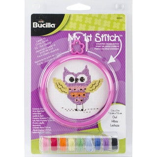 My 1st Stitch Owl Mini Counted Cross Stitch Kit-3in Round 14 Count