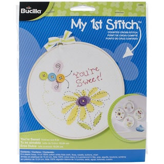 My 1st Stitch You're Sweet Mini Counted Cross Stitch Kit-6in Round 14 Count