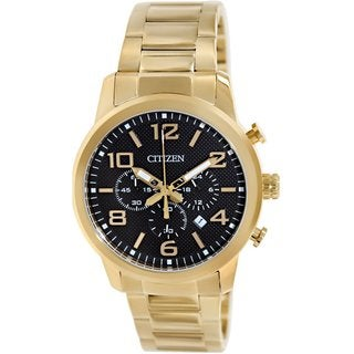 Citizen Men's AN8052-55E Goldtone Stainless Steel Quartz Watch with Black Dial
