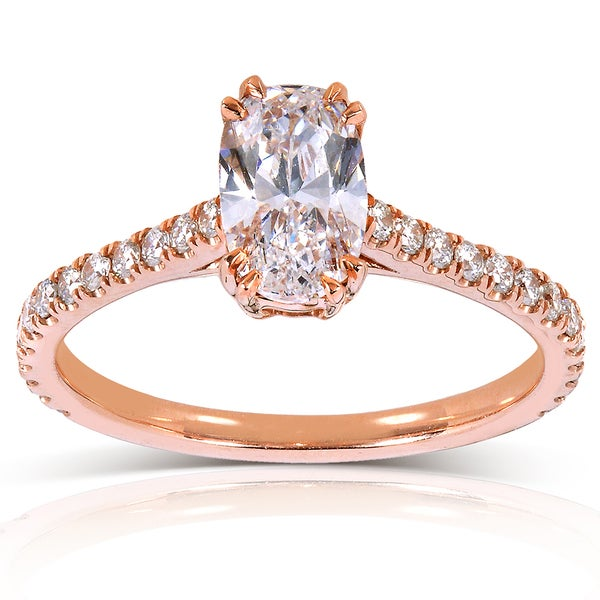 Annello 14k Rose Gold 1 1 3ct TDW Certified Oval Diamond Ring D VS2 Over