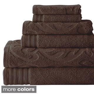 Jacquard/ Solid Medallion Swirl 6-piece Towel Set