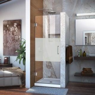 Dreamline Unidoor 24 in. W x 72 in. H Frameless Hinged Shower Door, Half Frosted Glass