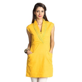 MOHR Women's Dark Yellow Shawl-collar Tunic (India)