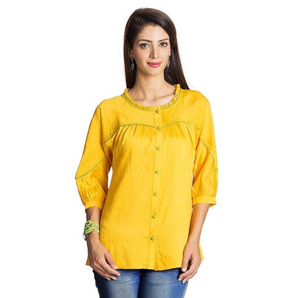MOHR Women's Dark Yellow Tunic Shirt with Kimono Sleeves (India)