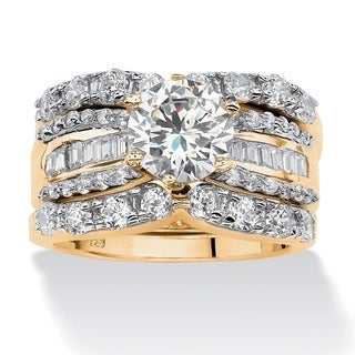 PalmBeach 18k Gold over Silver Cubic Zirconia 3-band Bridal Ring Set Glam CZ