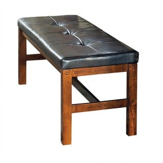 Lansing Medium Oak and Faux Leather Dining Bench