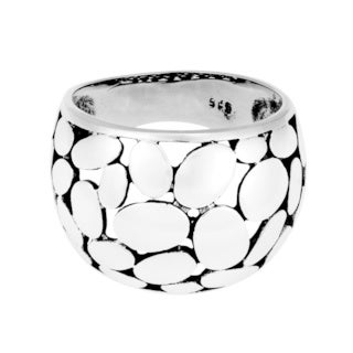 Variety Dome Medium Oval Pattern .925 Silver Ring (Thailand)