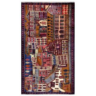 Herat Oriental Afghan Hand-knotted Tribal Balouchi Brown/ Blue Wool Rug (2'7 x 4'8)