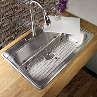 ... Drop-in Single Bowl Kitchen Sink with Cutting Board, Drain and Grid
