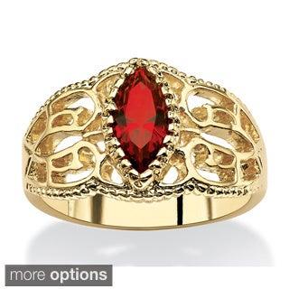 PalmBeach 14k Yellow Golplated Marquise Crstyal Birthstone Filigree Ring Color Fun