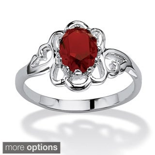 PalmBeach Sterling Silver Oval-cut Crystal Birthstone Ring Color Fun