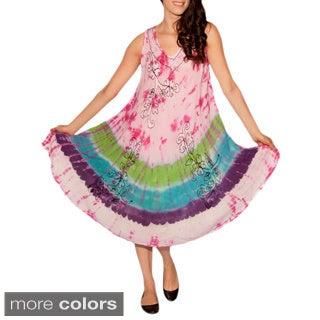 Women's Tie-dyed Rayon Sleeveless Dress (India)