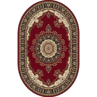 Oval Traditional Red Oval Area Rug (3'11 x 5'2)