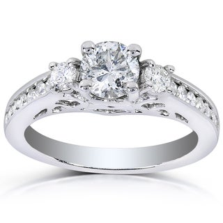 Annello 14k White Gold 1ct TDW Three-stone Diamond Engagement Ring (H-I, I1-I2)