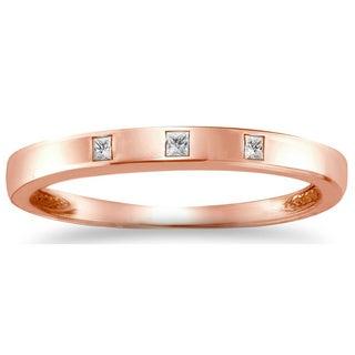 Auriya 10k Rose Gold 1/10ct TDW Princess Diamond Band (J-K, I1-I2)