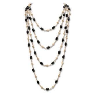 PalmBeach Onyx Barrel Beaded Necklace Naturalist